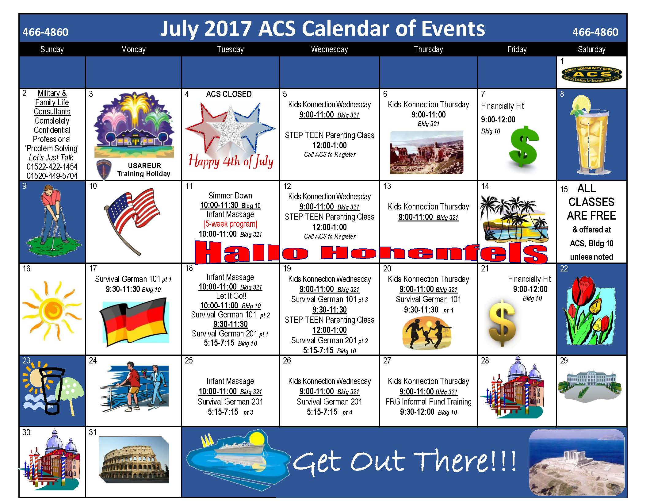 HOH July 2017 ACS Calendar of Events
